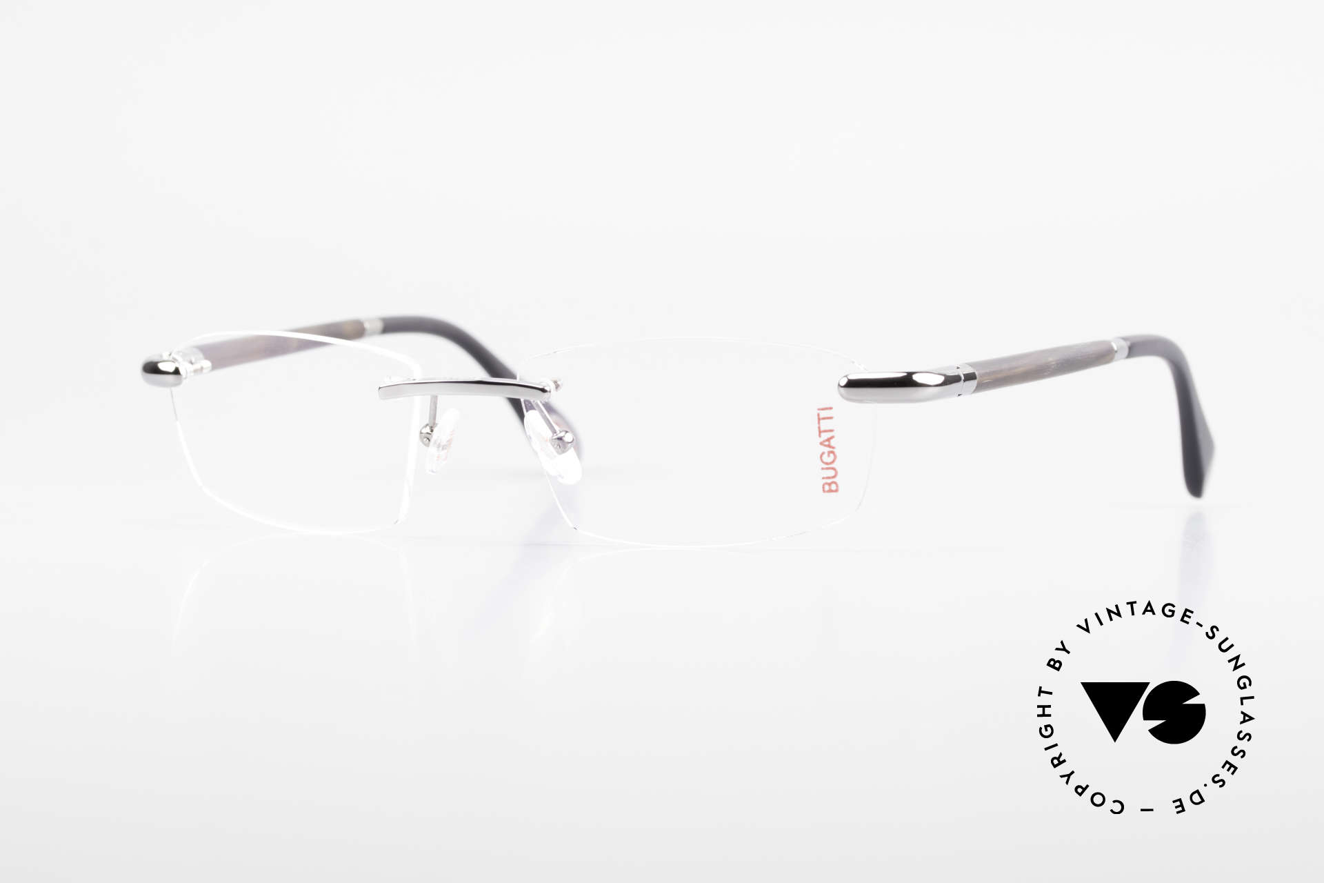 Bugatti 546 Ruthenium And Genuine Horn, rimless eyeglasses by BUGATTI, TOP-NOTCH quality, Made for Men