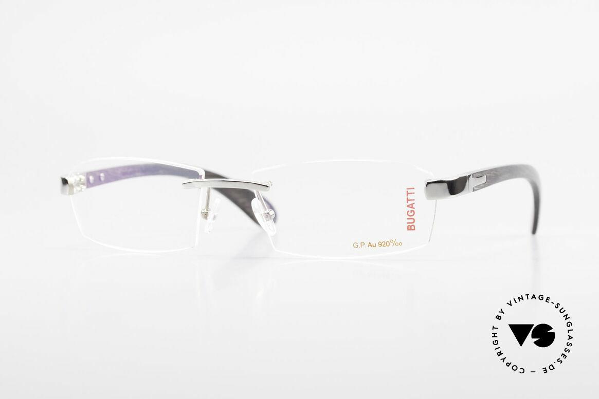 Bugatti 517 Precious Ebony White Gold, rimless Bugatti luxury eyeglasses; incredibly refined!, Made for Men