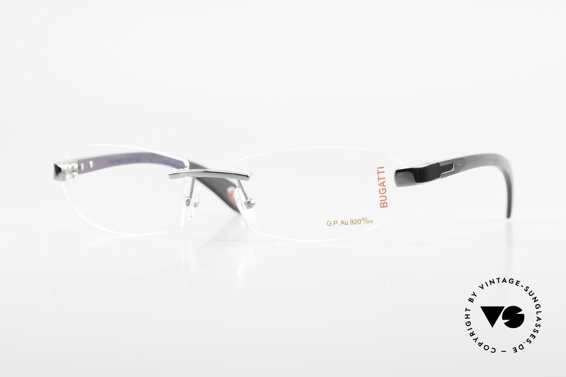 Bugatti 518 Gray Gold Precious Ebony, rimless Bugatti luxury eyeglasses; incredibly refined!, Made for Men