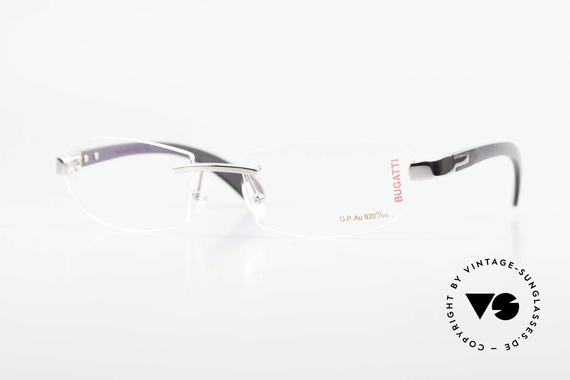 Bugatti 518 White Gold Precious Ebony, rimless Bugatti luxury eyeglasses; incredibly refined!, Made for Men