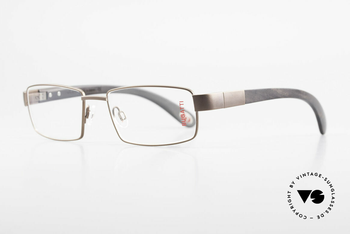 Bugatti 531 Ebony Titanium Eyeglass-Frame, temples are made from African Ebony wood; unique, Made for Men