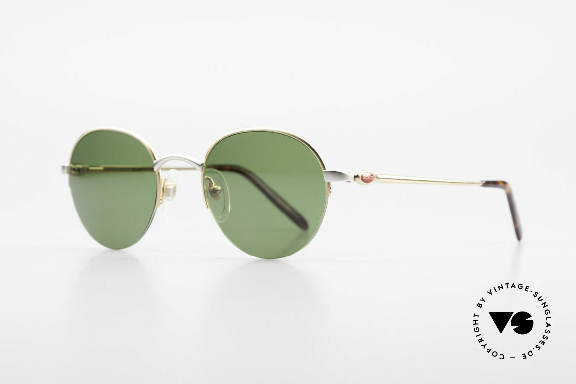 Bugatti 26658 Rare Panto Designer Shades, gold-plated / titanium frame with flexible hinges, Made for Men