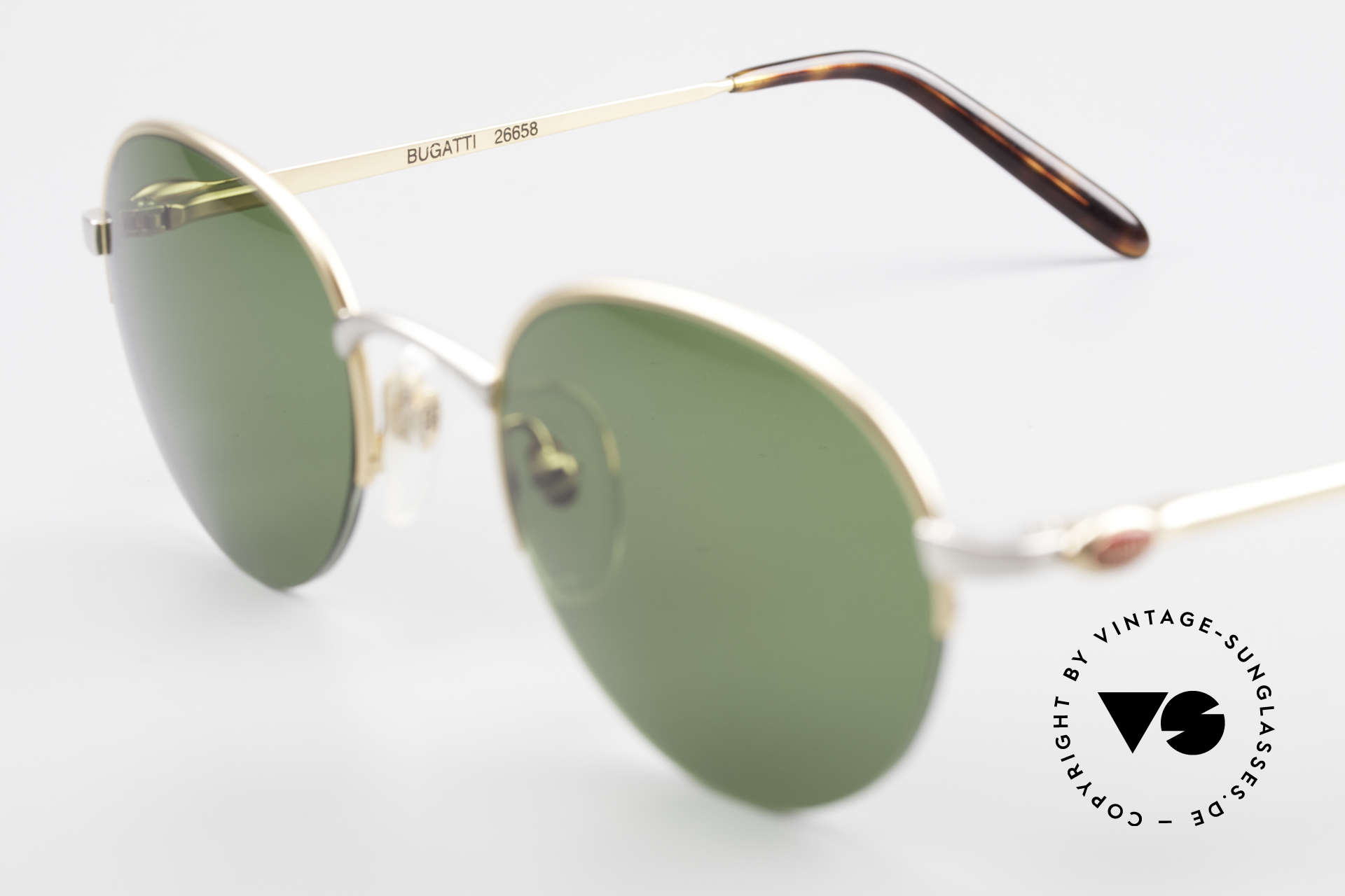 Bugatti 26658 Rare Panto Designer Shades, green sun lenses can be replaced with optical lenses, Made for Men