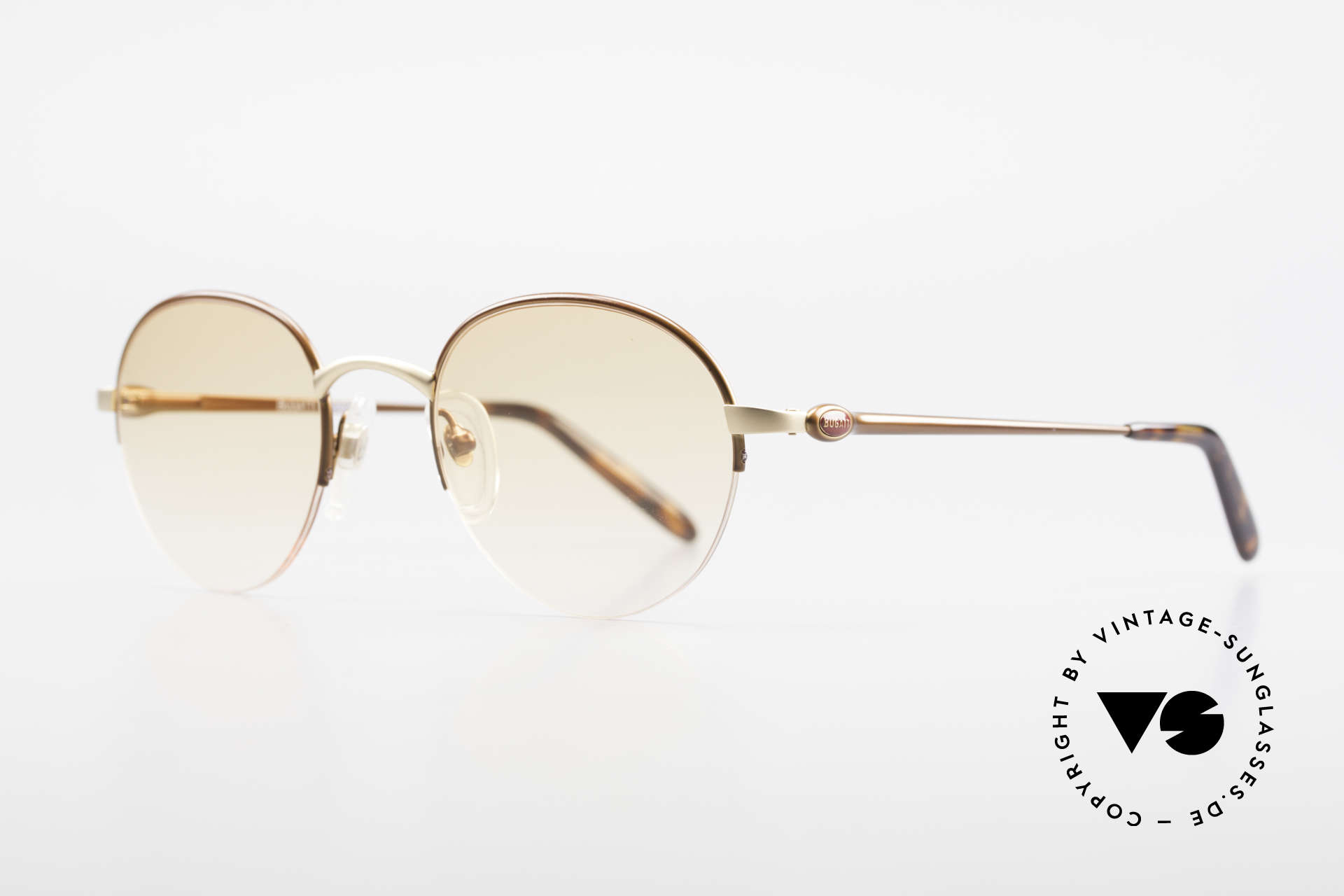 Bugatti 26669 Rare Bugatti Panto Sunglasses, dull gold/dull brown metallic & with flexible hinges, Made for Men