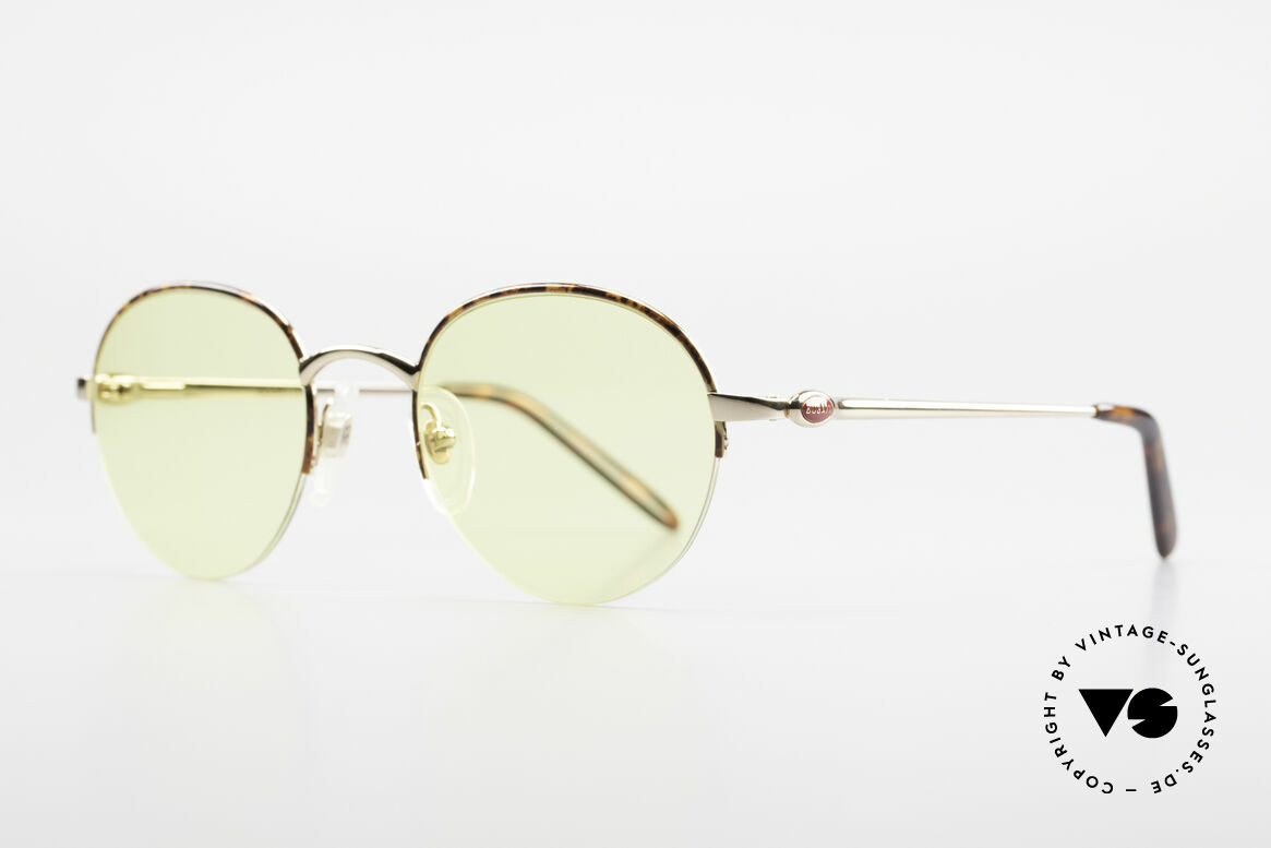 Bugatti 26612 Rare 90s Bugatti Panto Glasses, gold-plated / chestnut frame with flexible hinges, Made for Men