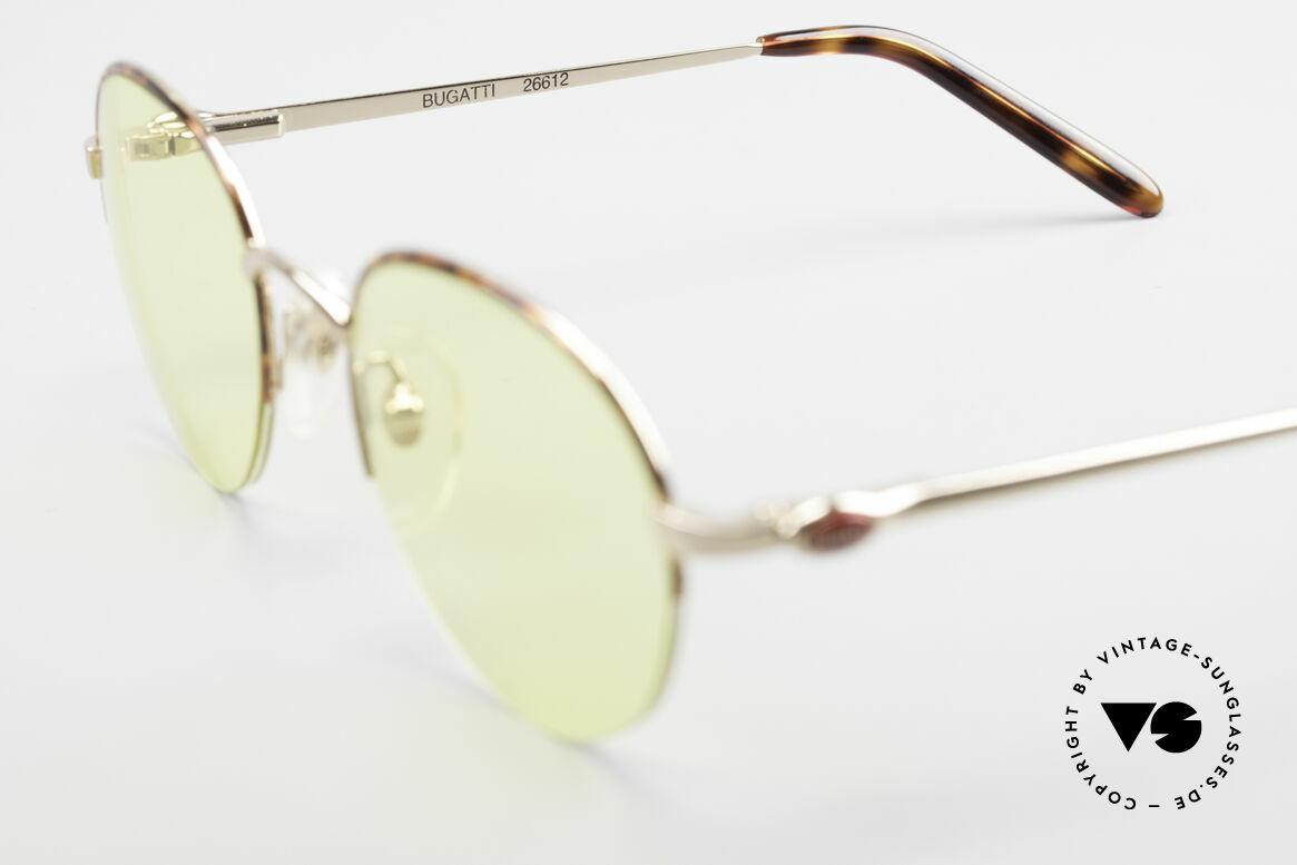 Bugatti 26612 Rare 90s Bugatti Panto Glasses, the yellow sun lenses can be worn at nighttime, too, Made for Men