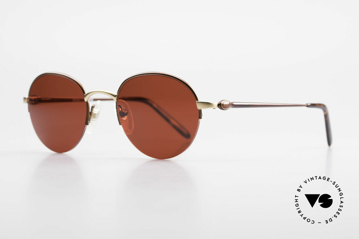 Bugatti 26619 Round Bugatti Panto Glasses, dull gold/dull brown metallic & with flexible hinges, Made for Men