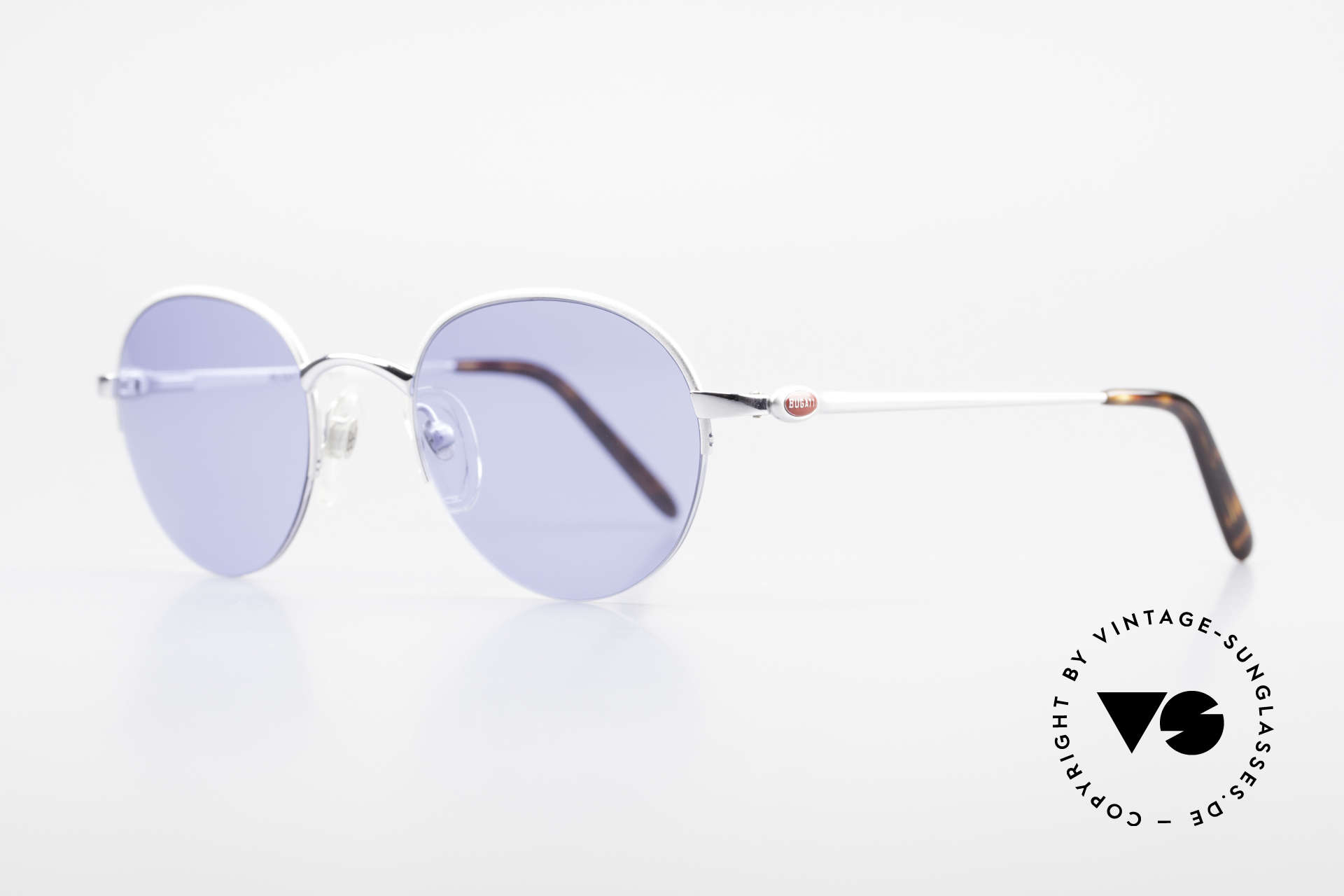 Bugatti 26670 Round Panto Bugatti Glasses, noble silver-plated / titan frame & flexible hinges, Made for Men