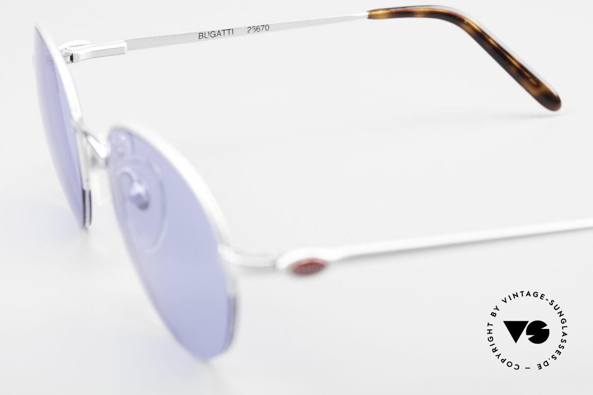 Bugatti 26670 Round Panto Bugatti Glasses, blue sun lenses could be replaced with prescriptions, Made for Men