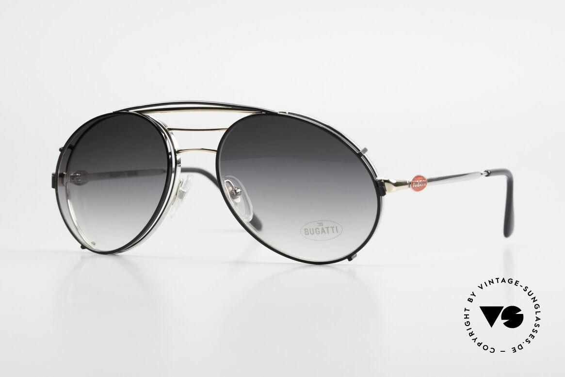 Bugatti 65536 Vintage Glasses with Sun Clip, classic Bugatti sunglasses from app. 1985/86, Made for Men