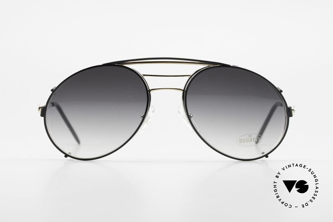 Bugatti 65536 Vintage Glasses with Sun Clip, legendary vintage BUGATTI 'tear drop' design, Made for Men