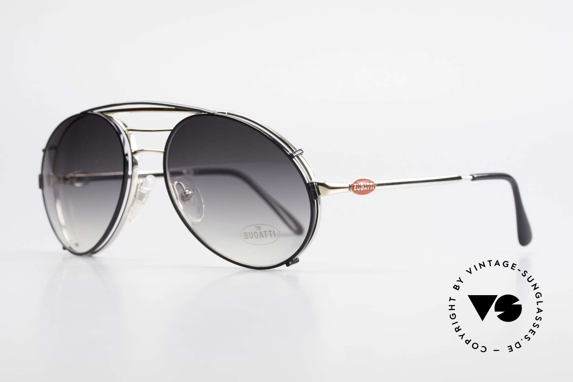Bugatti 65536 Vintage Glasses with Sun Clip, eyeglass-frame with practical clip (sun lenses), Made for Men