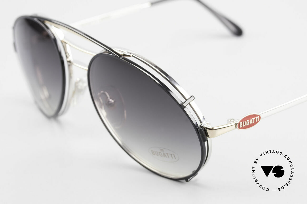 Bugatti 65536 Vintage Glasses with Sun Clip, LARGE size, very noble in silver / gold / black, Made for Men