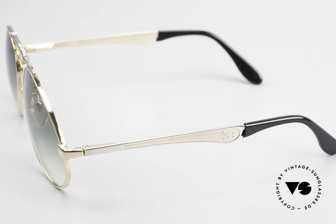 Bugatti 11908 Large 80's Luxury Sunglasses, bridge is shaped like a leaf spring (gold/silver), Made for Men
