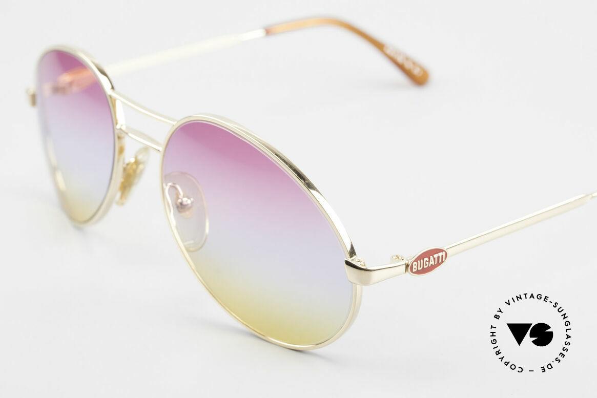 "Bugatti 64335 Extraordinary 80's Sunglasses, with rare and fancy tricolored ""sunrise"" lenses, Made for Men"