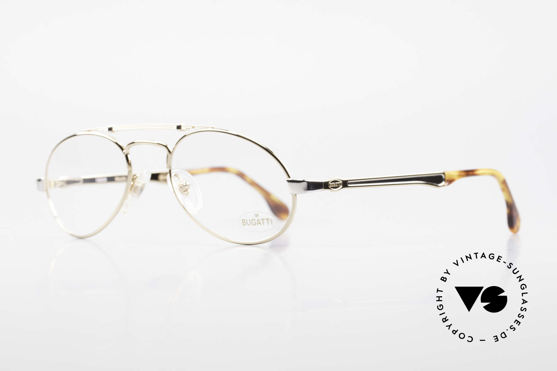 Bugatti 16908 Gold Plated 80's Eyeglasses, flexible spring temples & top-notch craftmanship, Made for Men