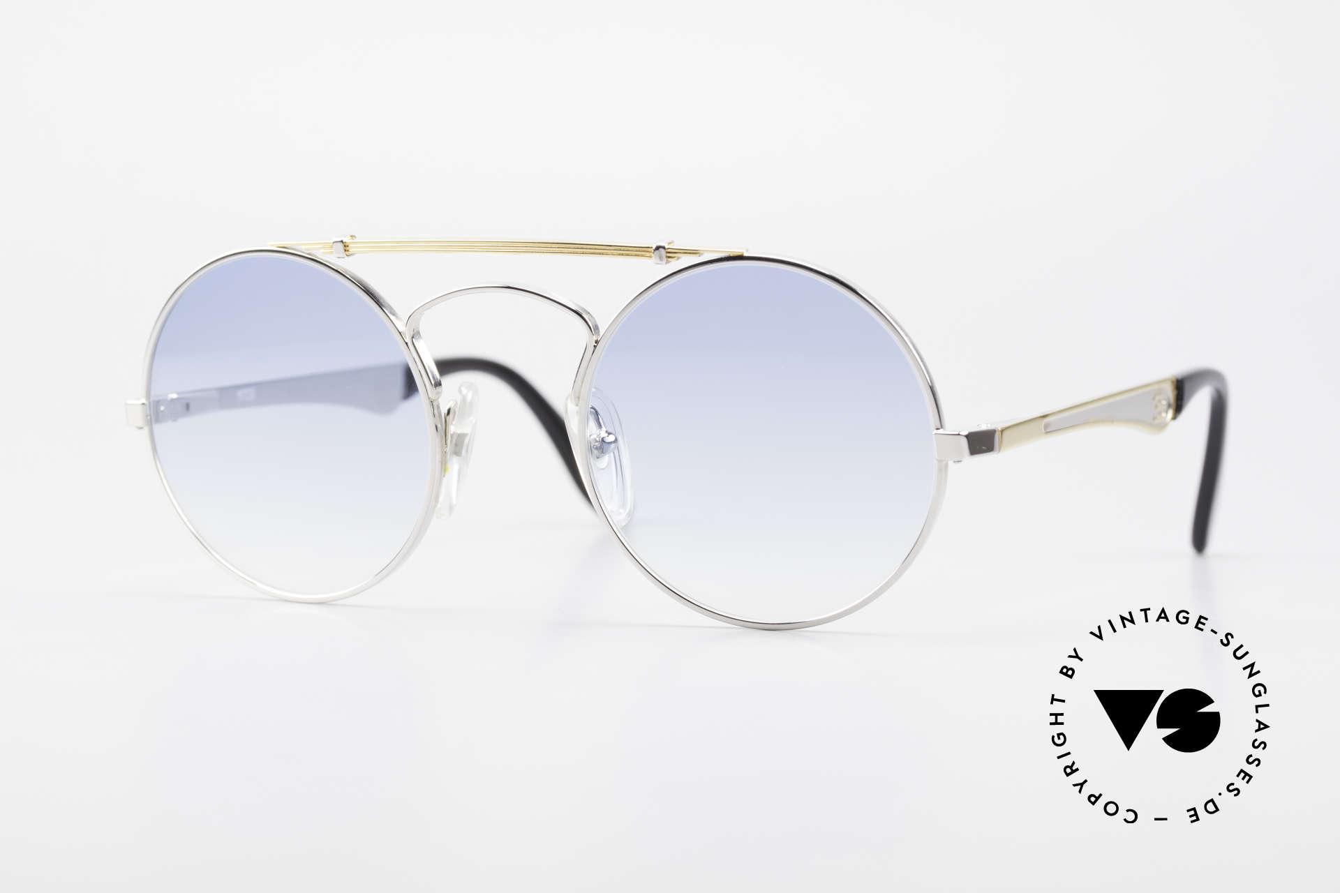 Bugatti 11709 80's Luxury Sunglasses Round, round vintage Bugatti sunglasses in M size 48/22, Made for Men