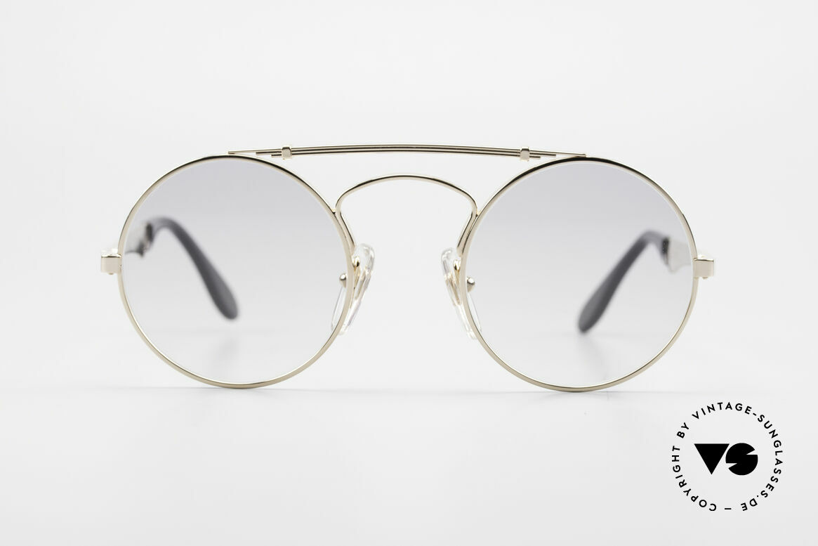 Bugatti 11711 Small Round Luxury Sunglasses, precious luxury model with flexible spring hinges, Made for Men