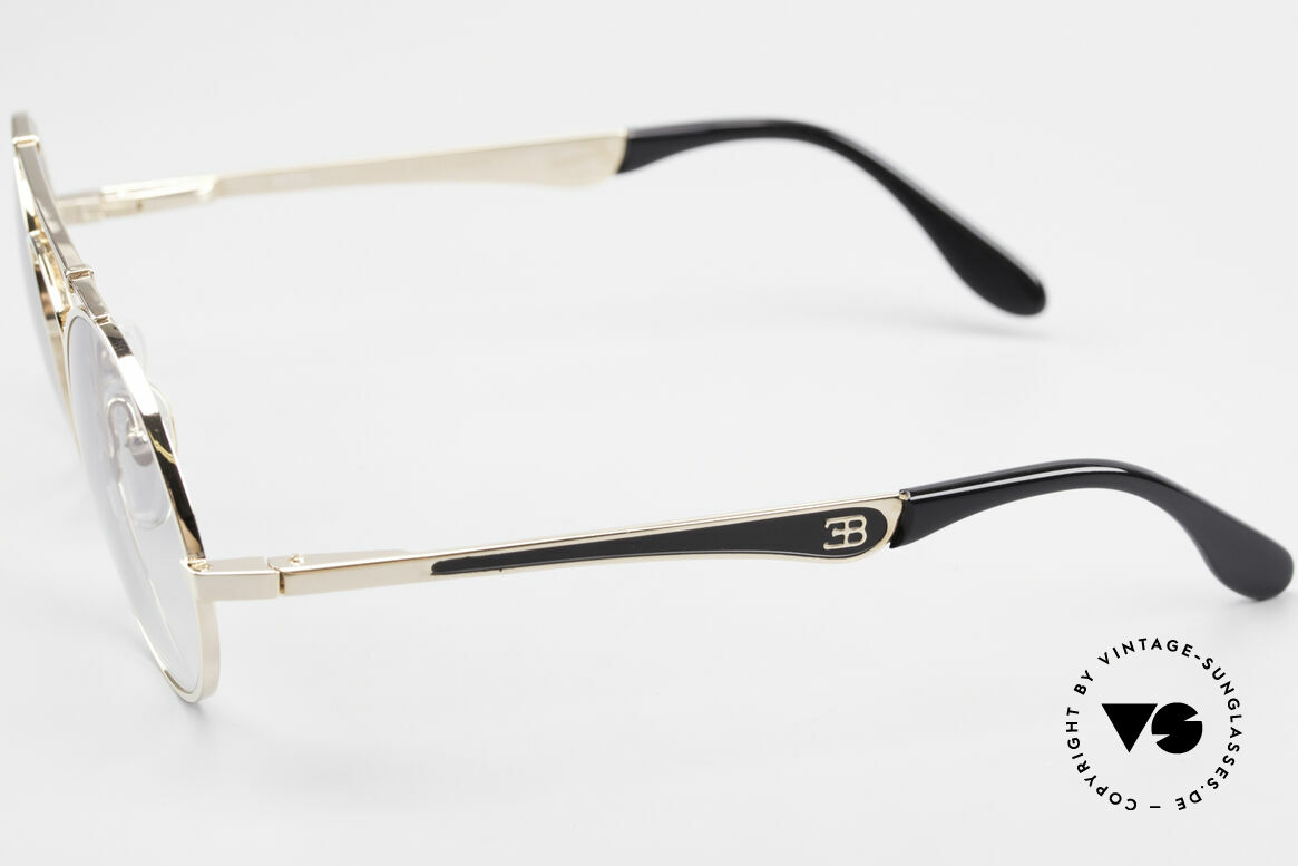 Bugatti 11711 Small Round Luxury Sunglasses, the bridge is shaped like a leaf spring (gold/black), Made for Men