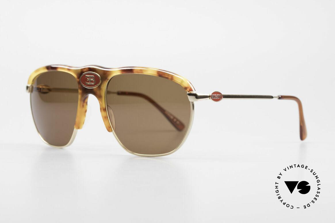 Bugatti 65218 Rare Old 70's Bugatti Glasses, medium frame (55 size) with central red Bugatti logo, Made for Men