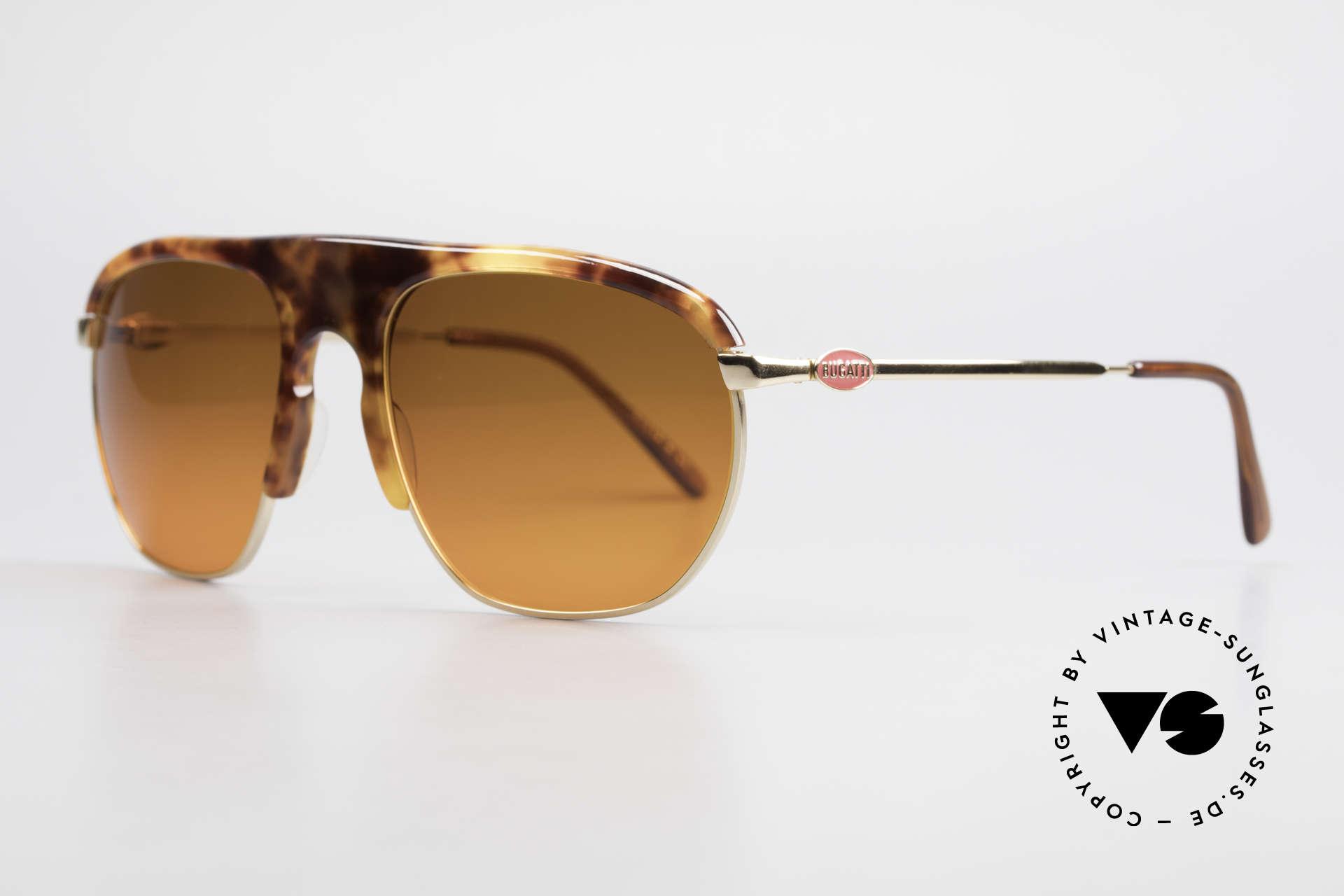 Bugatti 65219 Extraordinary 70's Sunglasses, LARGE frame (58 size); interesting / unique design, Made for Men