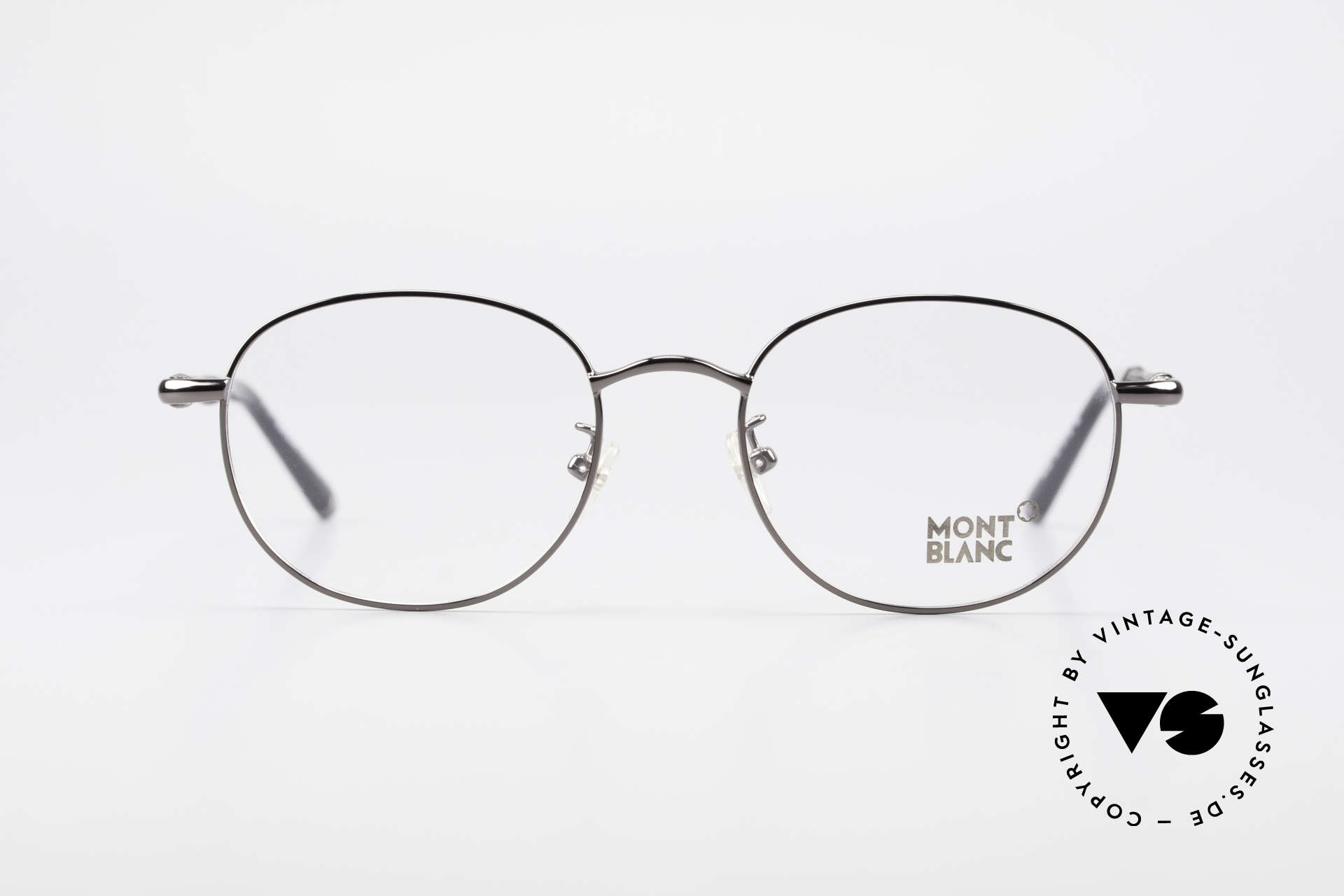 Montblanc MB392 Luxury Panto Frame Gunmetal, top-notch craftsmanship with flexible spring hinges, Made for Men and Women