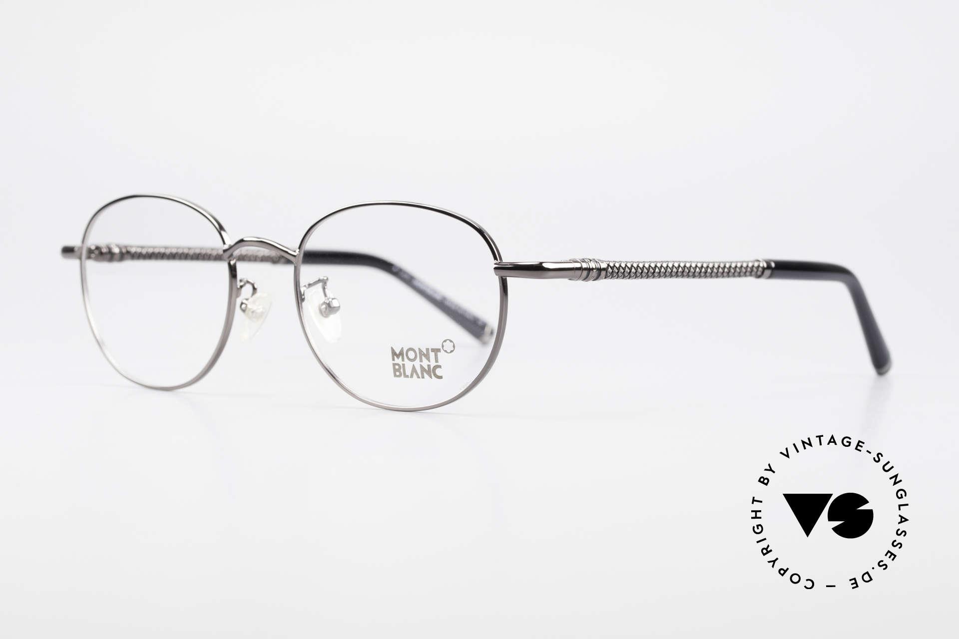 Montblanc MB392 Luxury Panto Frame Gunmetal, metal frame with gunmetal finish (shiny anthracite), Made for Men and Women