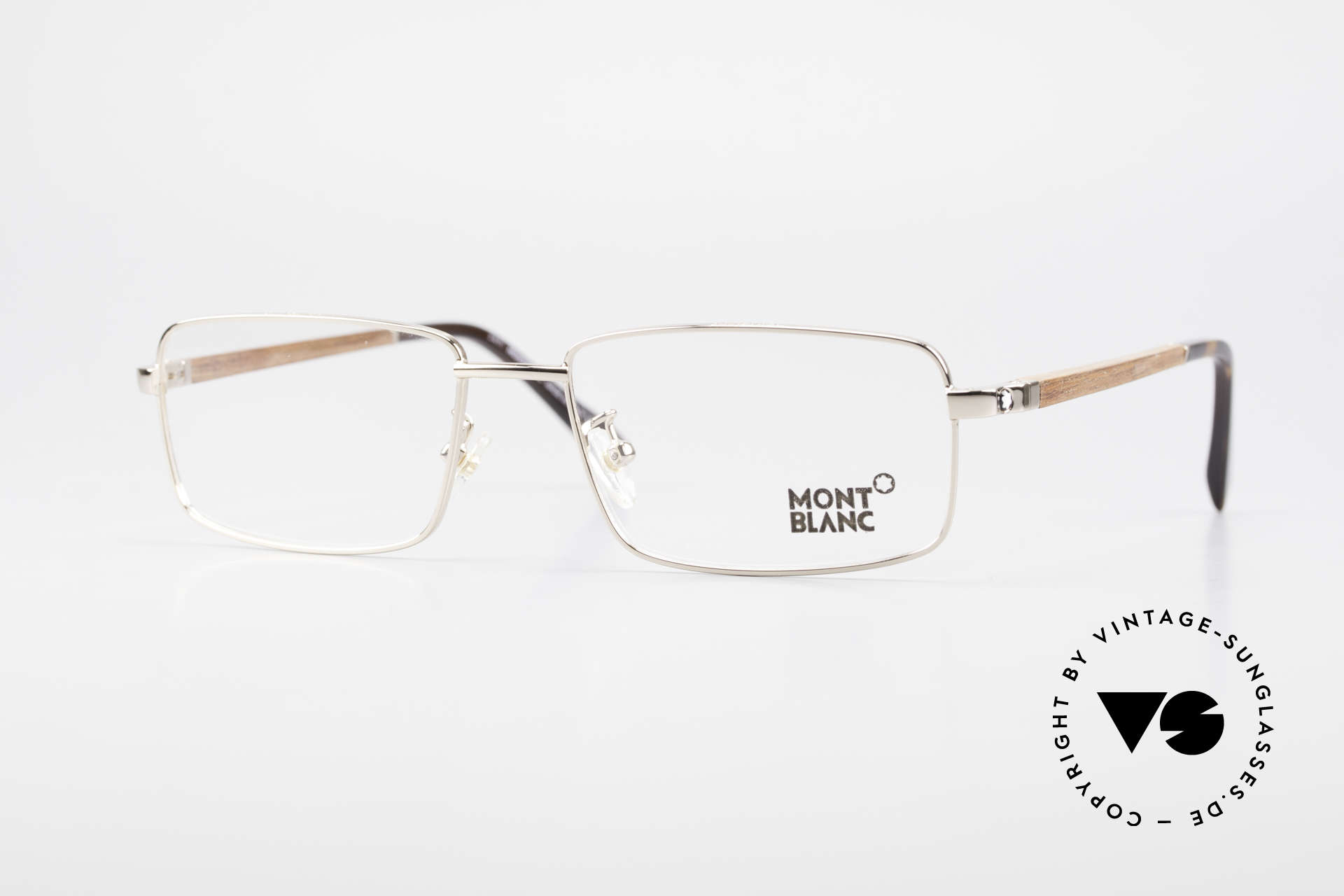 Montblanc MB389 Gold-Plated Wood Glasses Men, Mont Blanc wood glasses, 389, col. 028 in size 55/17, Made for Men