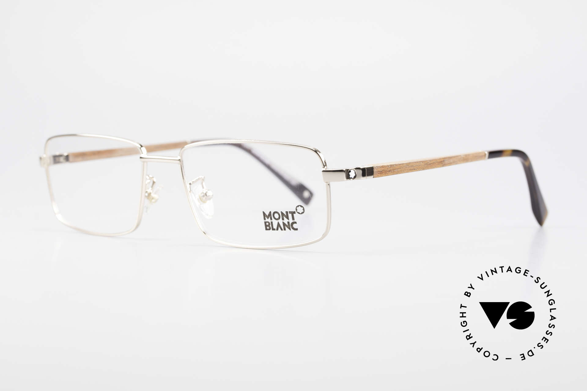 Montblanc MB389 Gold-Plated Wood Glasses Men, gold-plated metal frame with wood temples; 20g only, Made for Men