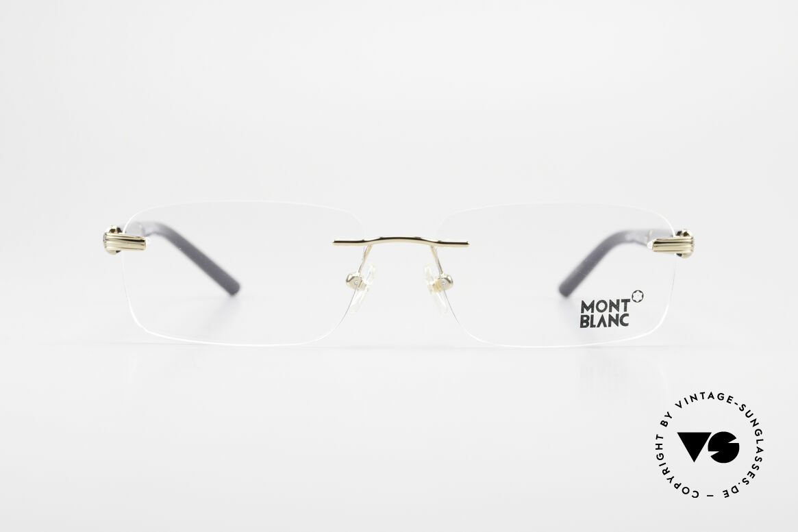 Montblanc MB337 Rimless Eyeglasses Gold-Plated, characteristical Mont Blanc design in black and gold, Made for Men