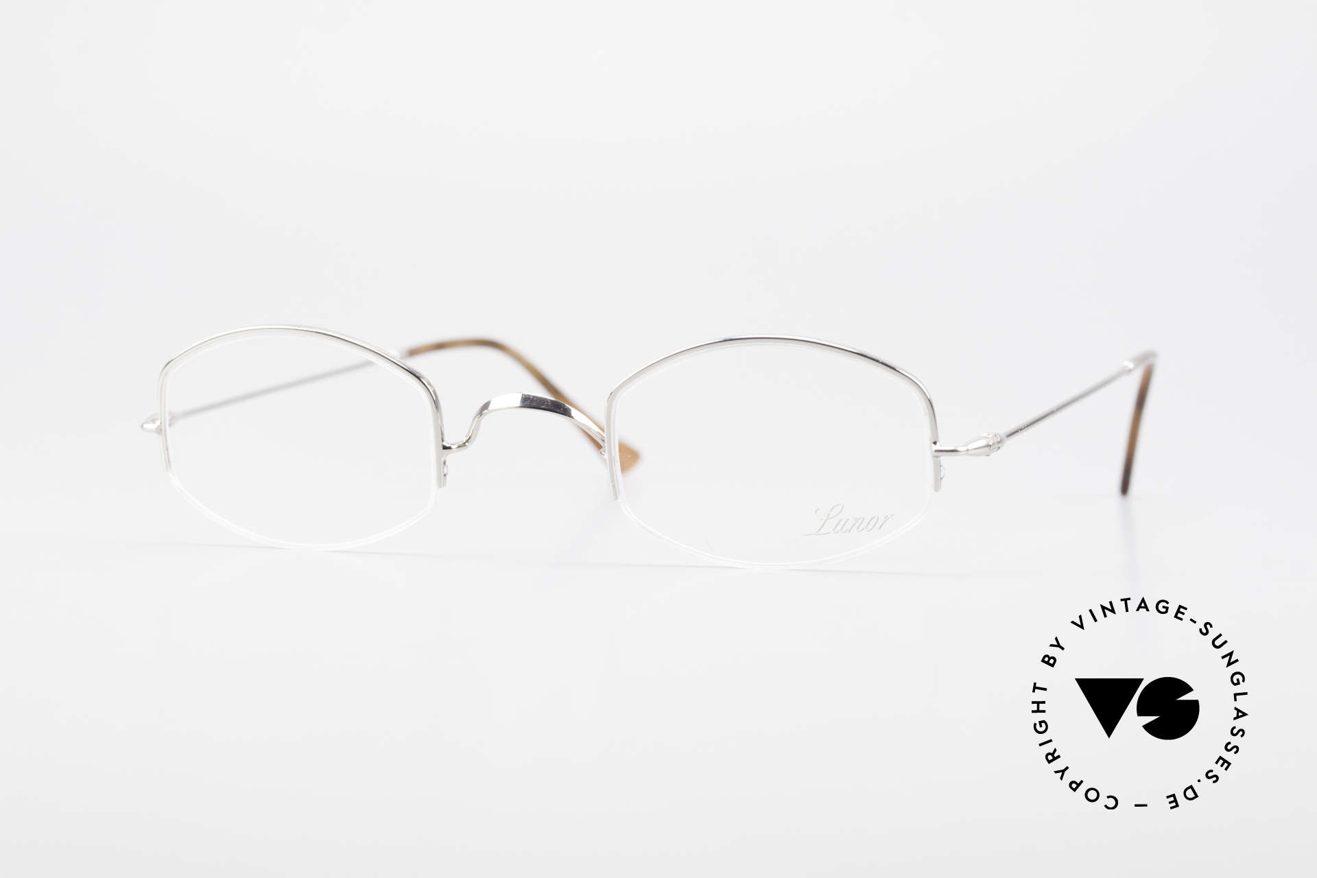 """Lunor Classic Semi Rimless Vintage Frame, LUNOR: shortcut for French """"Lunette d'Or"""" (gold glasses), Made for Men and Women"""