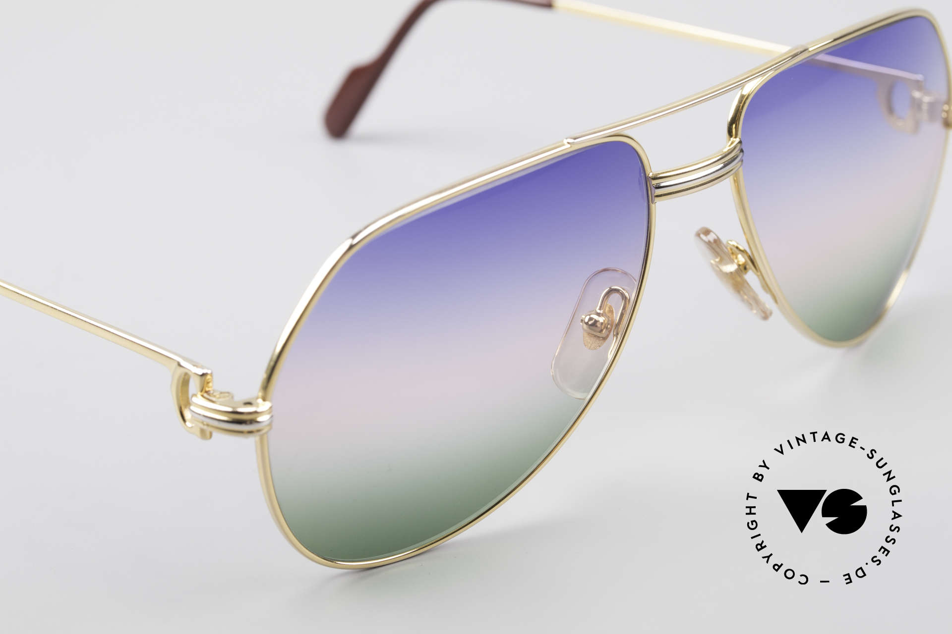 Cartier Vendome LC - M Michael Douglas Sunglasses, 22ct GOLD-plated frame with new tricolored sun lenses, Made for Men