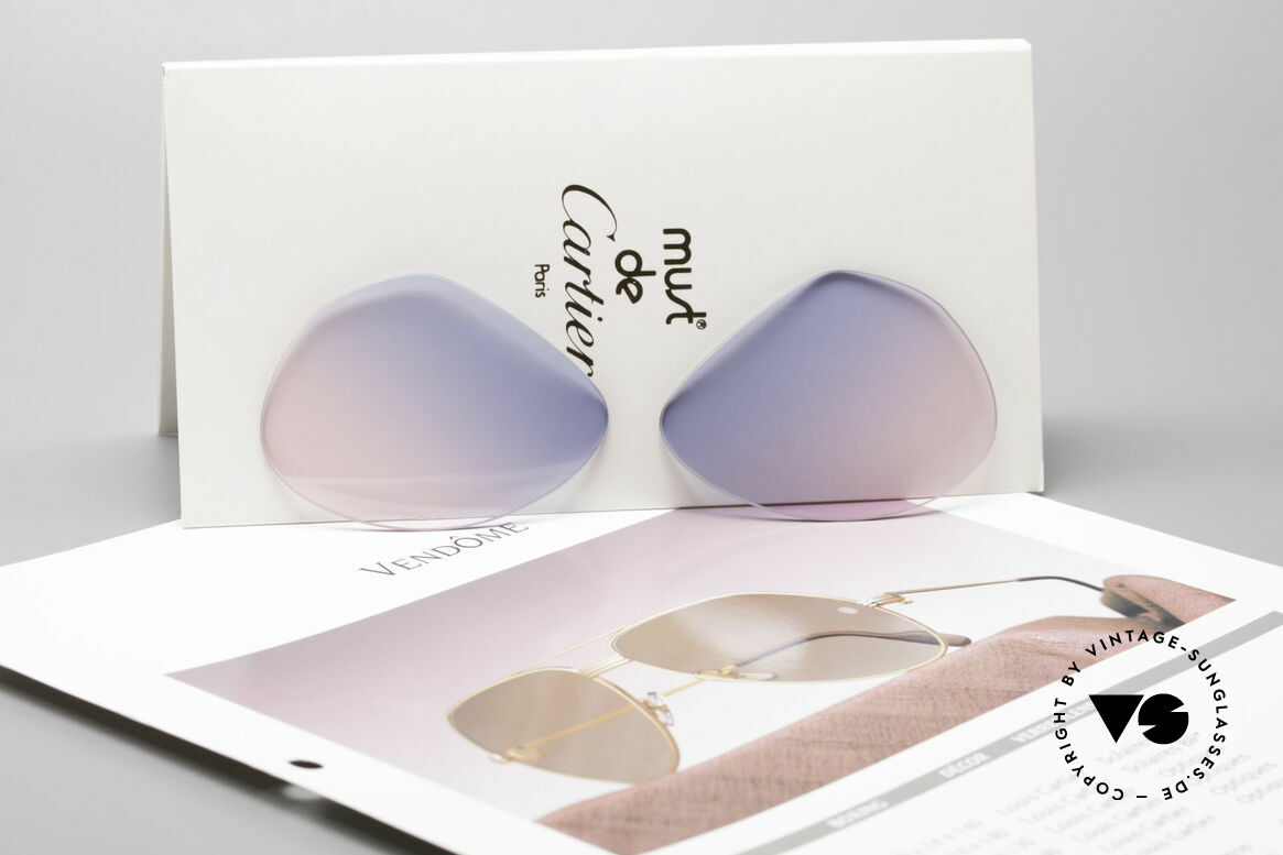 Cartier Vendome Lenses - M Sun Lenses Blue Pink Gradient, fancy tint = gradient from sky-blue (baby-blue) to pink, Made for Men