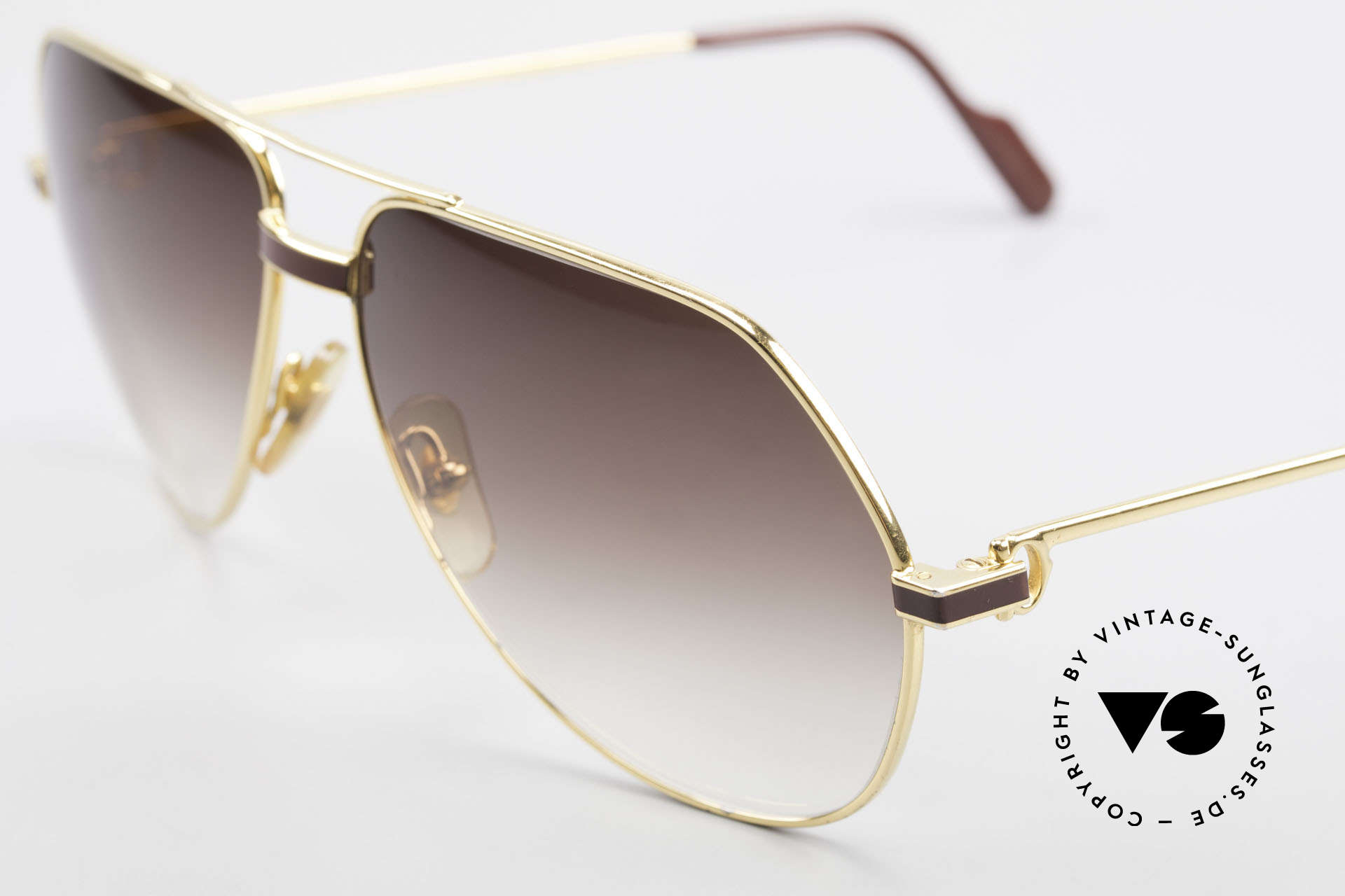 Cartier Vendome Laque - L Luxury Aviator Sunglasses, with classic brown-gradient sun lenses (100% UV prot.), Made for Men