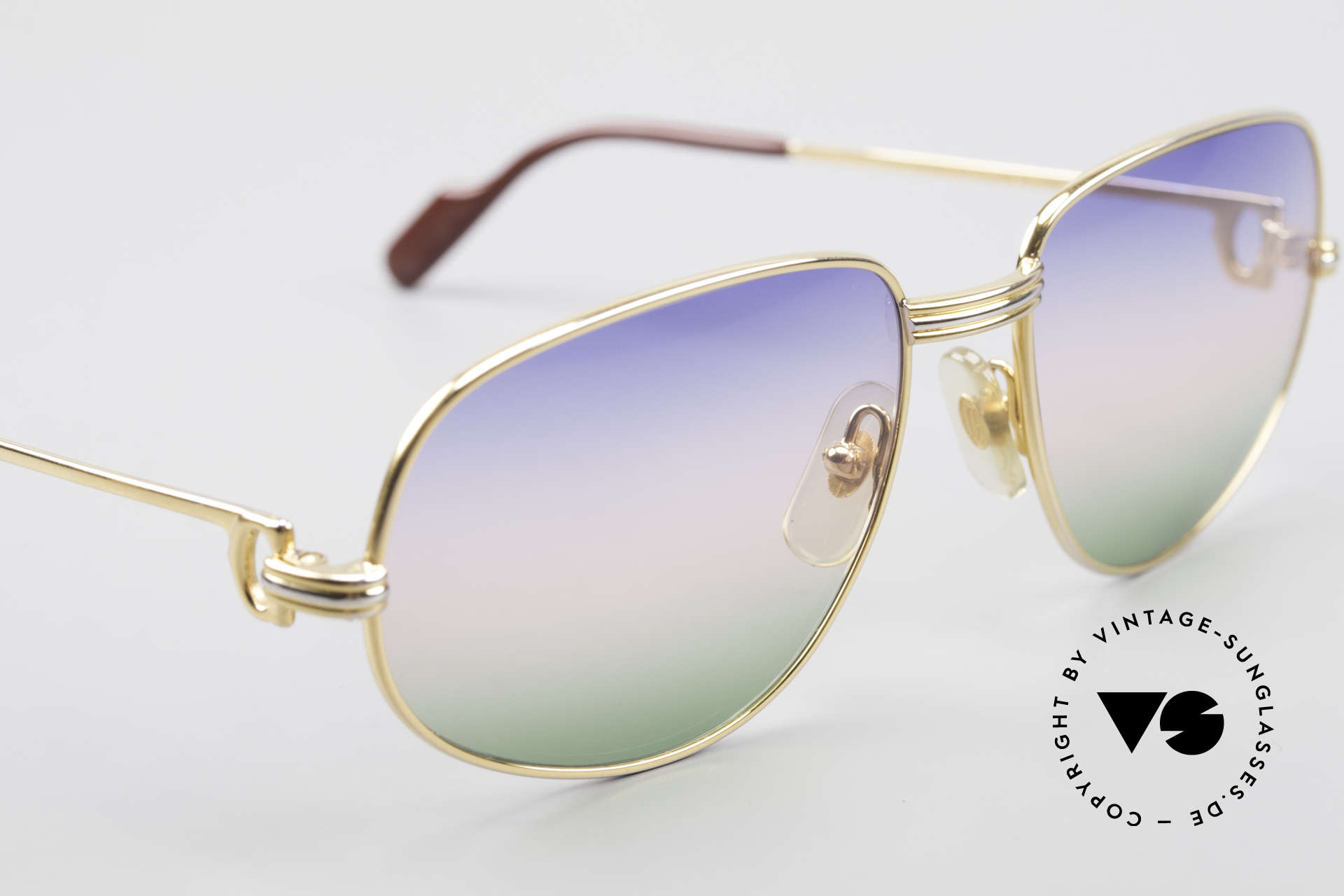 Cartier Romance LC - M Rare 80's Designer Sunglasses, with new tricolor-gradient sun lenses (fancy & high-class), Made for Men and Women