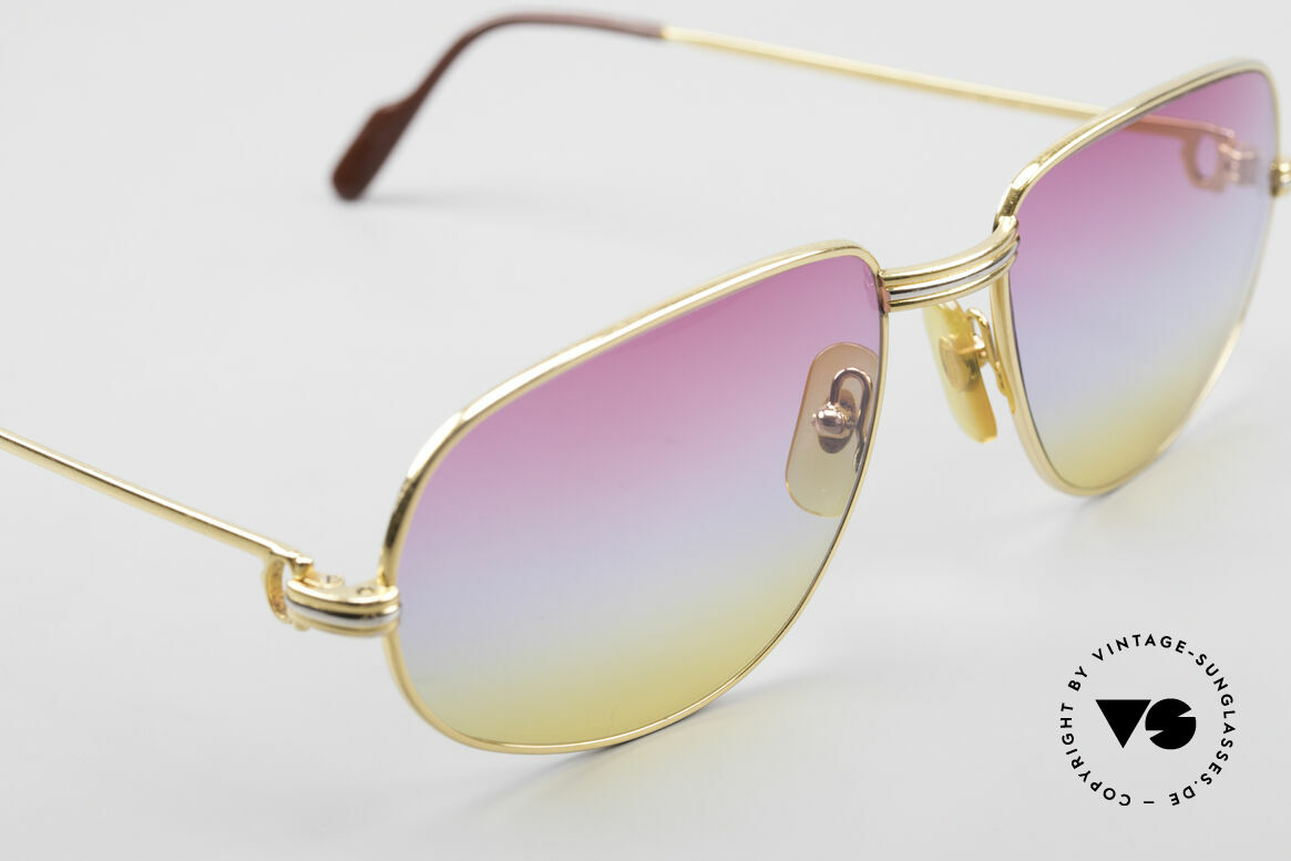 Cartier Romance LC - L Luxury Designer Sunglasses, with new sunrise-gradient sun lenses: fancy tricolored tint, Made for Men and Women