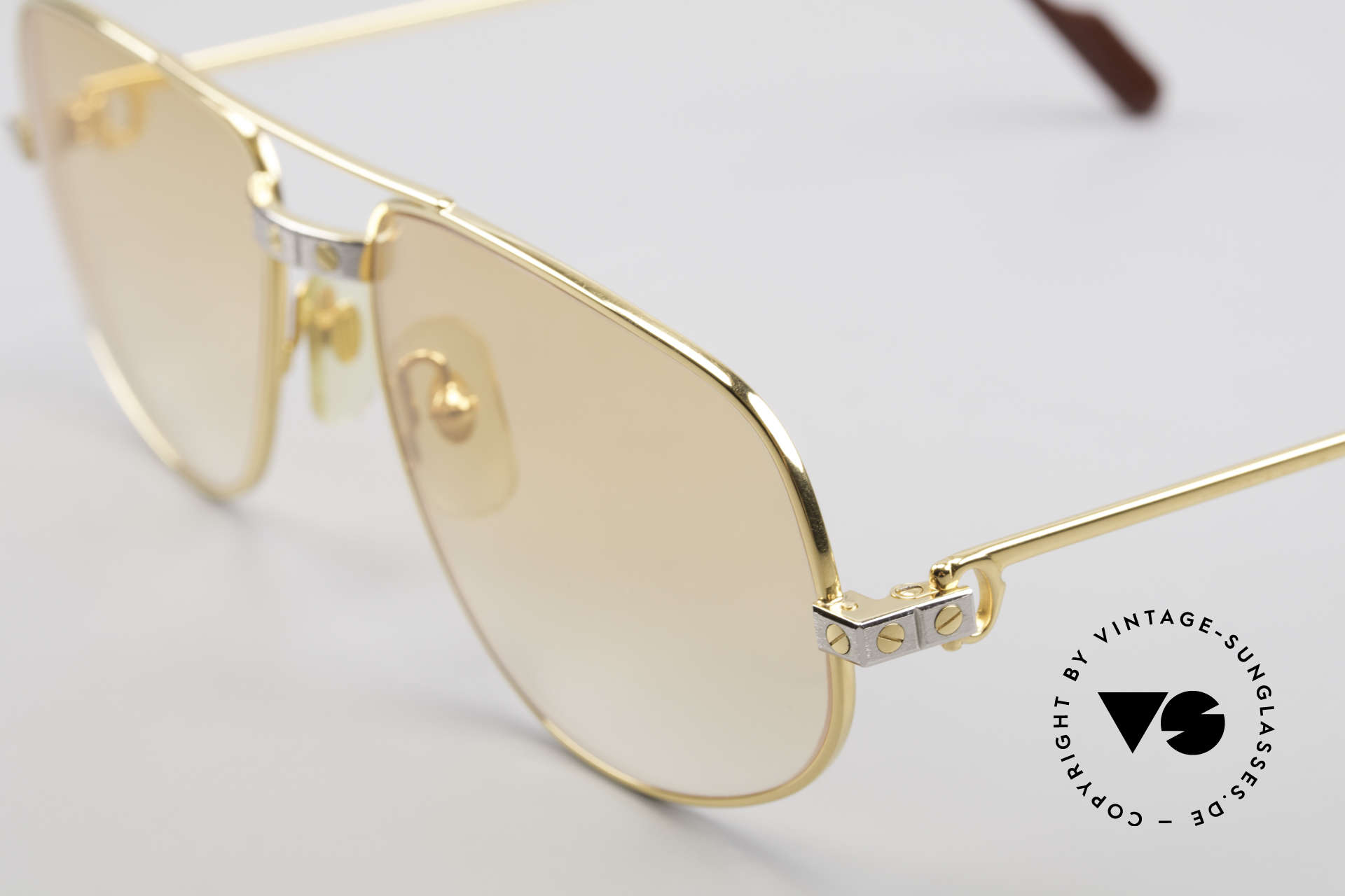 Cartier Romance Santos - L Luxury Vintage Sunglasses, 22ct gold-plated frame (like all vintage Cartier originals), Made for Men