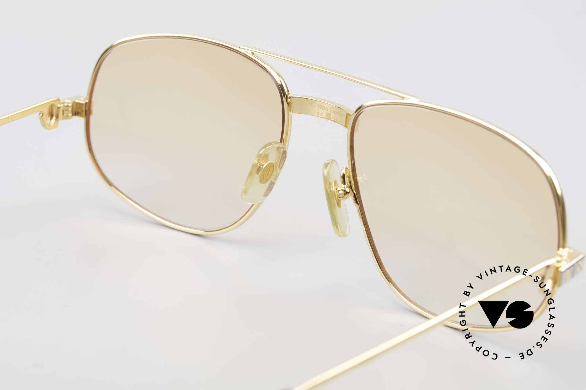 Cartier Romance Santos - L Luxury Vintage Sunglasses, new ORANGE-gradient sun lenses (also wearable at night), Made for Men