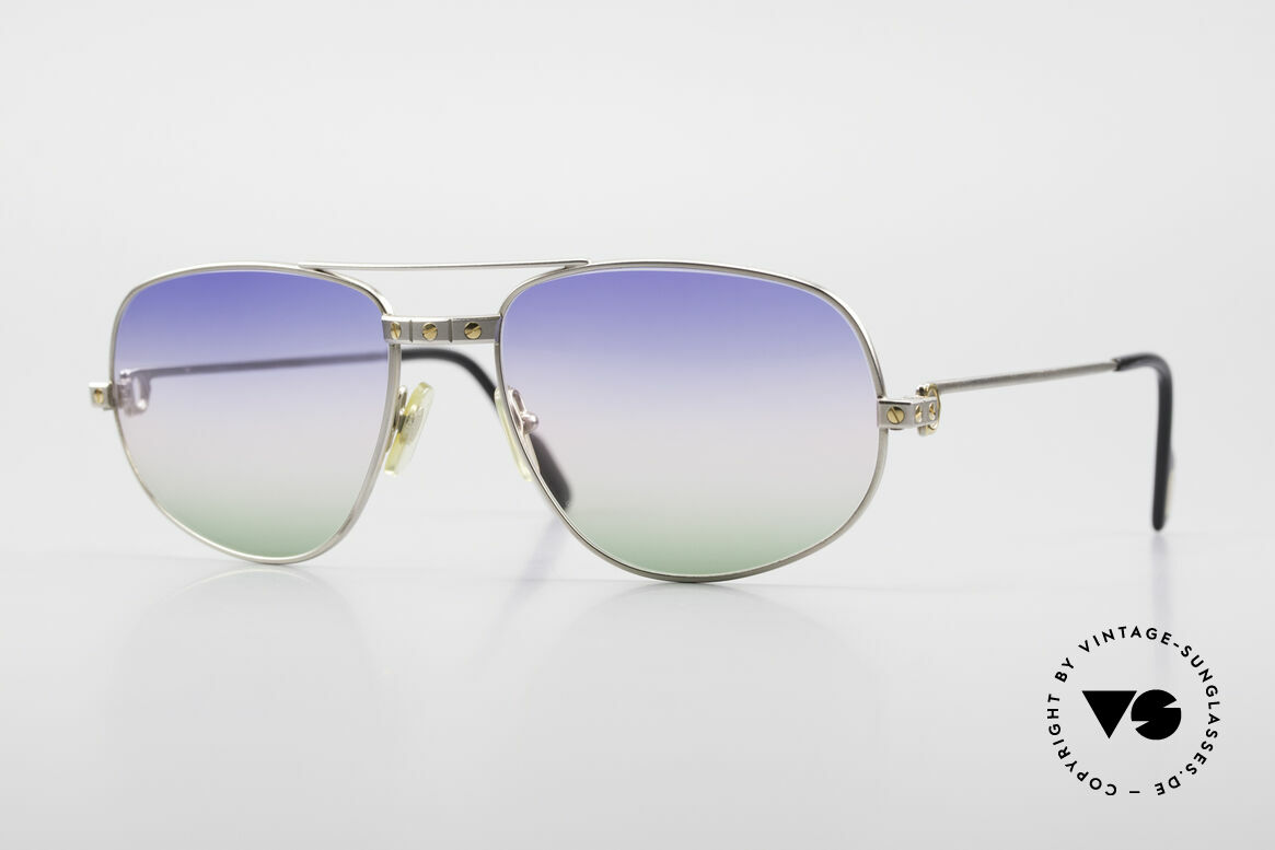 Cartier Romance Santos - L Palladium Shades Tricolored, exclusive Cartier model for men; LARGE size 58°18, Made for Men