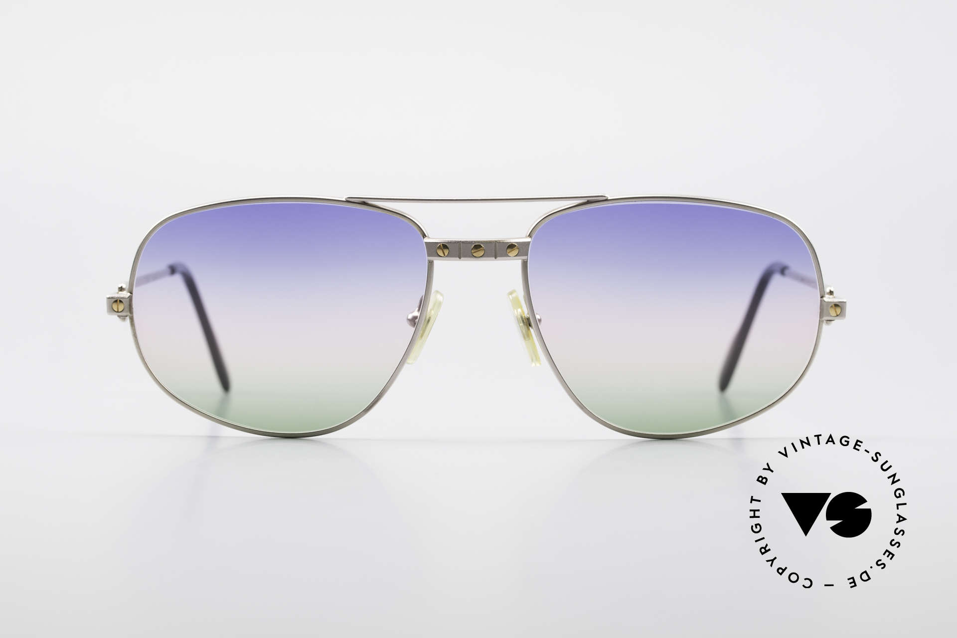 Cartier Romance Santos - L Palladium Shades Tricolored, original Cartier vintage luxury sunglasses from 1988, Made for Men