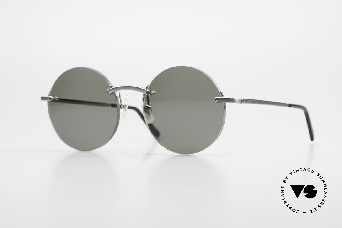 Cartier T-Eye Madison Round Luxury Sunglasses, noble rimless CARTIER luxury sunglasses from 1999, Made for Men and Women