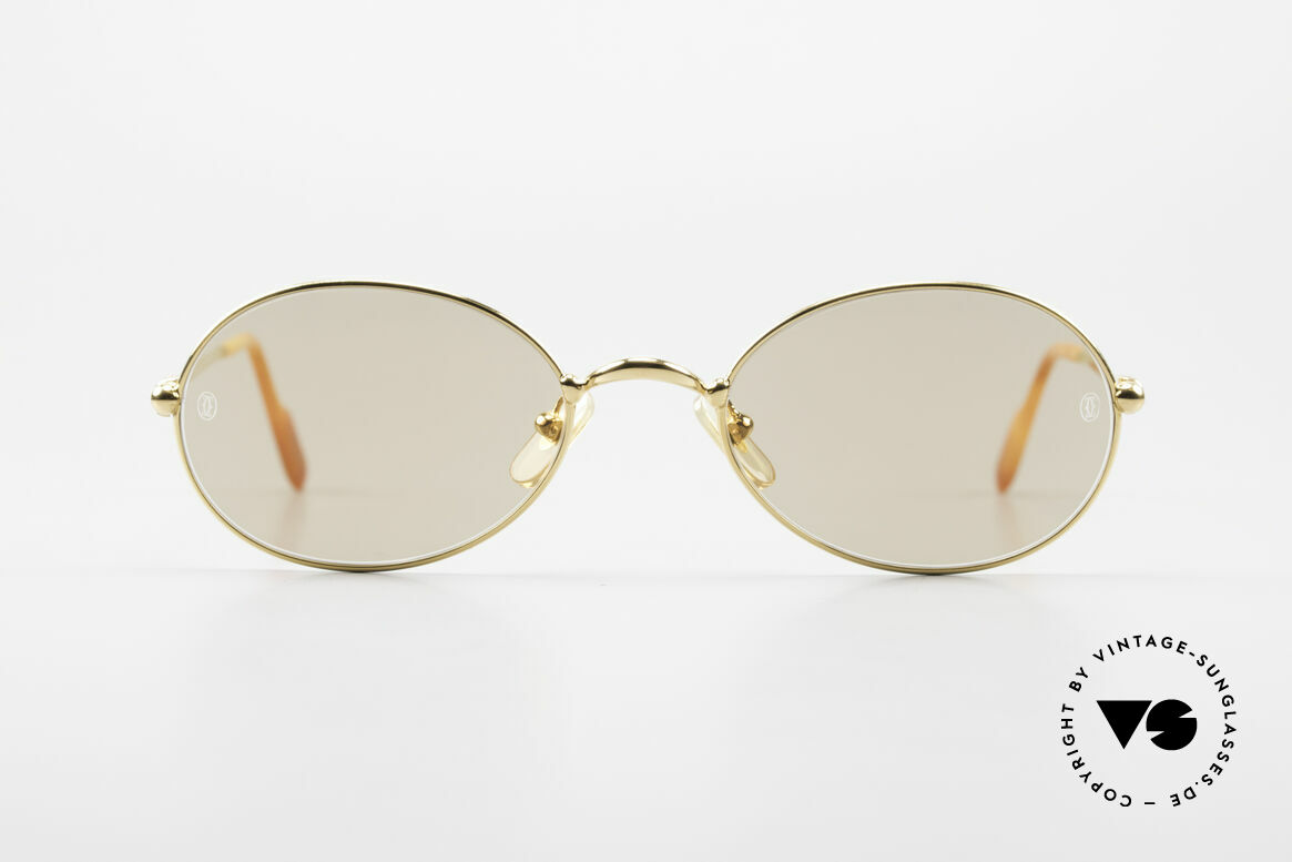 Cartier Saturne - L Oval 90's Luxury Sunglasses, model from the 'Thin Rim' series by Cartier; L size 53/21, Made for Men and Women