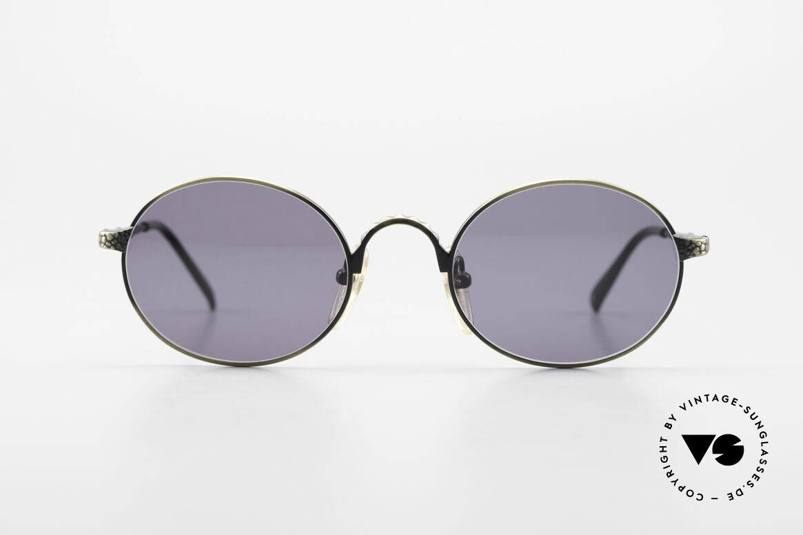 Jean Paul Gaultier 55-9672 Oval 1990's JPG Sunglasses, high-end metal frame with costly engravings, Made for Men and Women