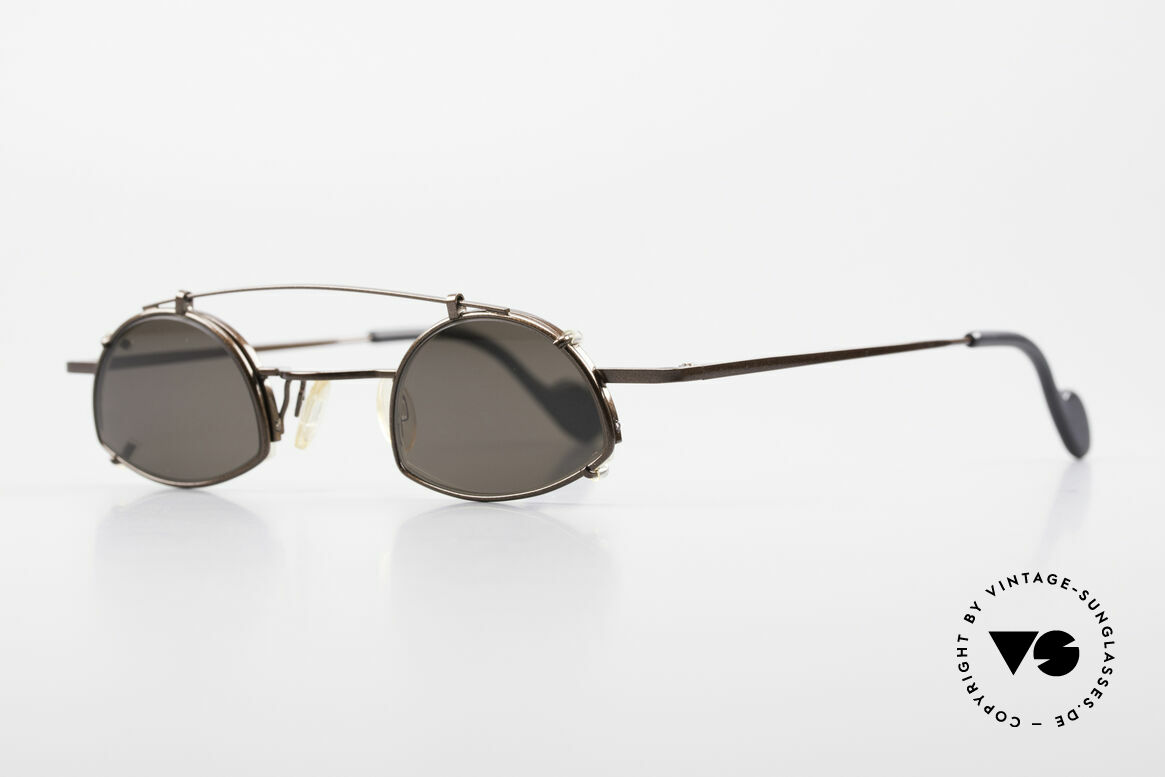 Theo Belgium Poco Small Frame With Clip On, small UNISEX size (125mm width); dark-brown metallic, Made for Men and Women