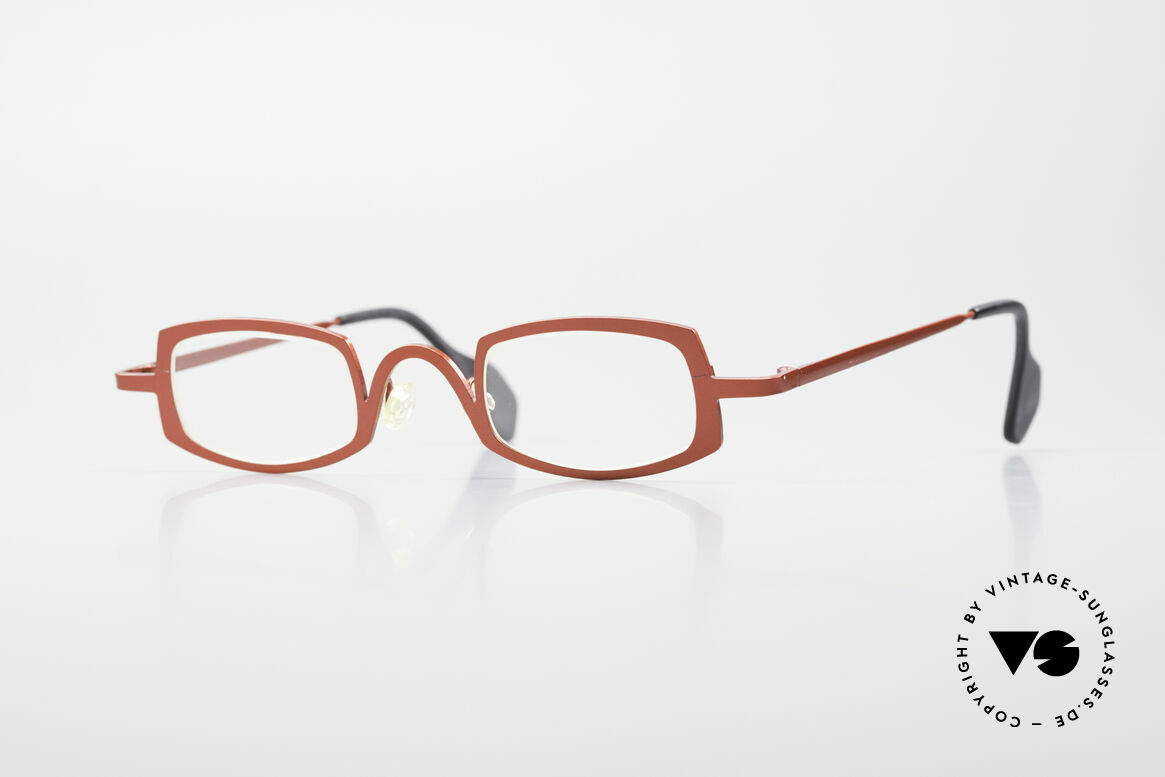 Theo Belgium Rectangle Red Vintage Ladies Eyeglasses, Theo Belgium = the most self-willed brand in the world, Made for Women