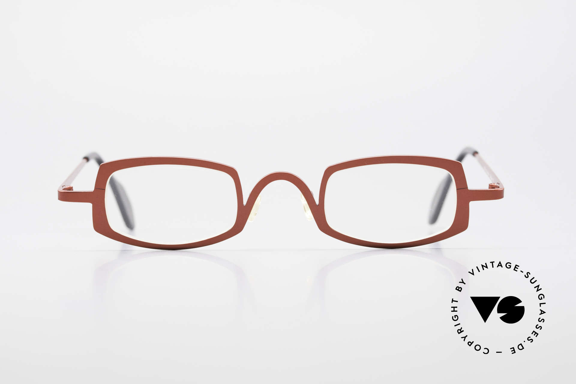 Theo Belgium Rectangle Red Vintage Ladies Eyeglasses, founded in 1989 as 'opposite pole' to the 'mainstream', Made for Women