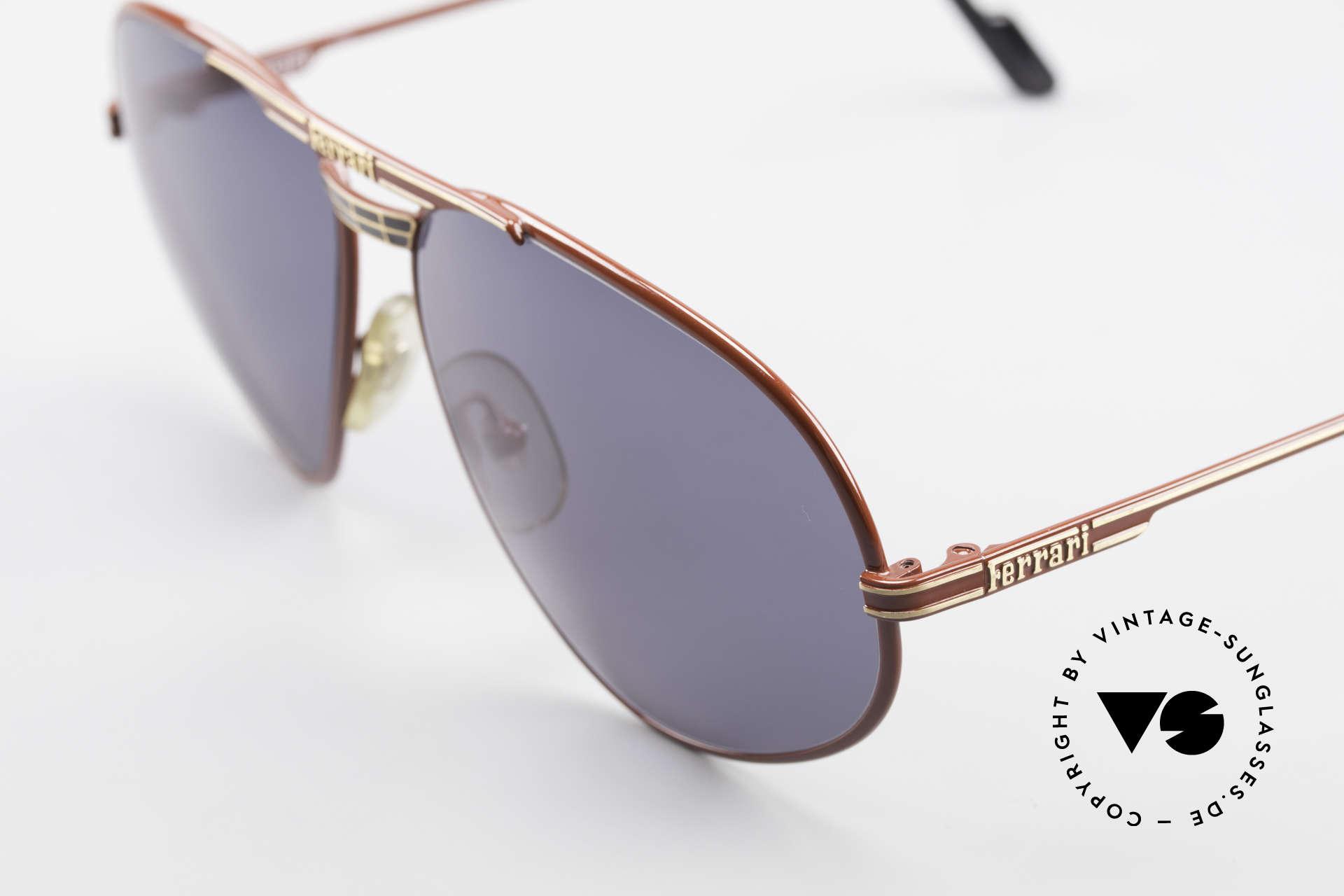 """Ferrari F12 Old Vintage Luxury Sunglasses, """"Ferrari-Red"""" finish and dark-gray plastic sun lenses, Made for Men"""