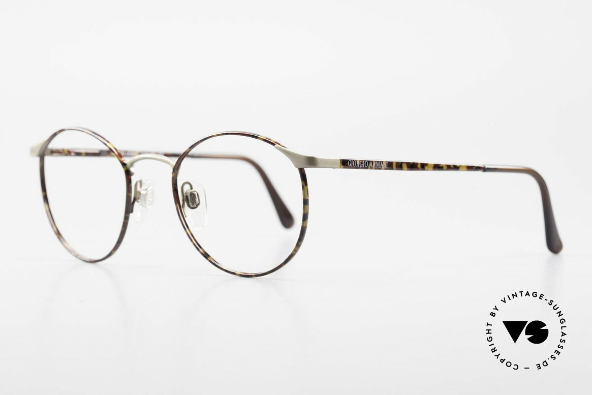 Giorgio Armani 163 Small Panto Eyeglass-Frame, frame with flexible spring hinges; SMALL size 47/19, Made for Men and Women
