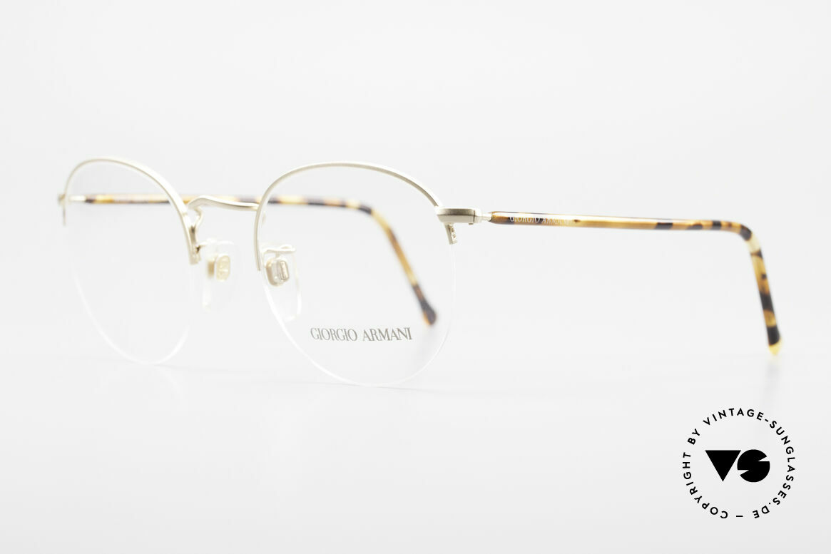 Giorgio Armani 142 Rimless Panto Eyeglasses 80's, the lenses are fixed with a nylor thread at the frame, Made for Men and Women