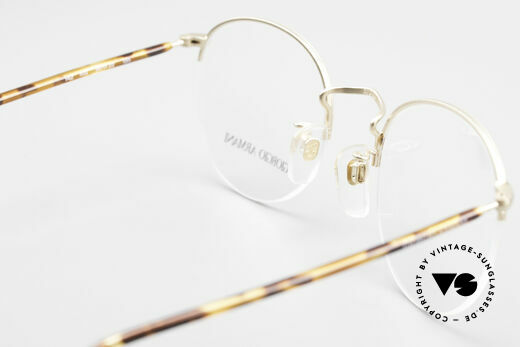 Giorgio Armani 142 Rimless Panto Eyeglasses 80's, the demo lenses can be replaced with optical lenses, Made for Men and Women